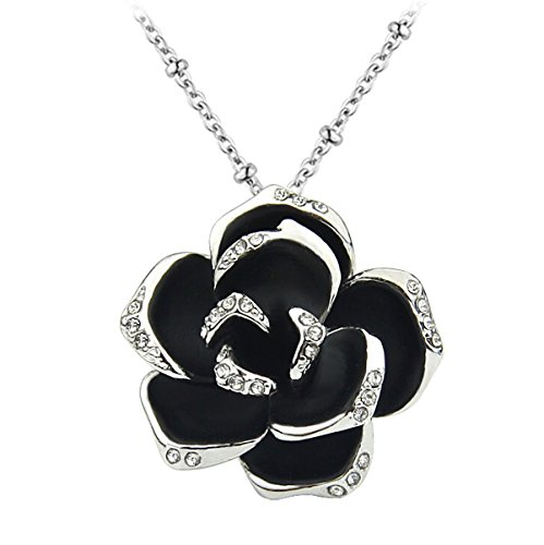 Le Premium® -elegante Black Rose fiore Collana pendente di cristallo Rhodium placcato
