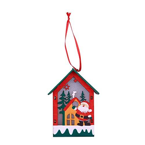 Hink - 1 casa Madera luz LED decoración árbol Navidad