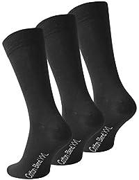 Lot de 6 paires de chaussettes - coton - homme - noir uni- taille XXL (47/50)