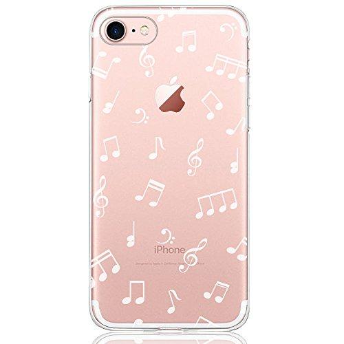 DAPP® kompatibel mit iPhone 7/8 Hülle, Dolce Vita Serie Transparente Silikon Handyhülle für Damen/Mädchen, Durchsichtig mit Weiß Musik Muster