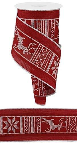 Stoffband/Weihnachtsbaumgirlande, Weihnachtsbaum-Motiv, 10 cm breit, Rot mit Schneeflocken und Rentier