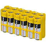 Storacell By Powerpax AA Battery Caddy, Yellow, Holds 12 Batteries