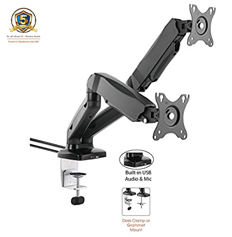 ACGU32D Gas Spring Desk Mount LCD Monitor Double Twin Arms Stand (Support Ecran avec ressort à gaz) w/ vesa bracket & monitor arm for two 15