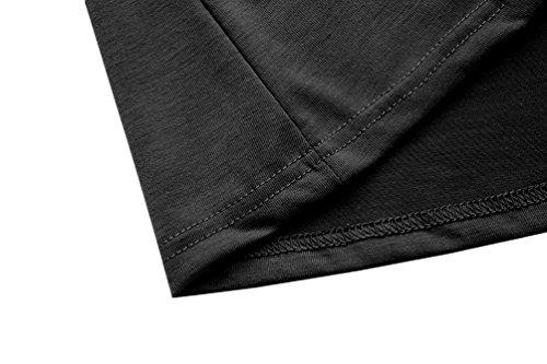 lymanchi Damen V-Ausschnitt Kurzarm T-Shirt mit Schnürung Vorne Top Shirt Bluse Oberteil Schwarz
