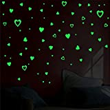 Decor kafe Pack of 2Glow in The Dark Hearts Decals Peel and Stick Stickers Removable Kids Boys Girls