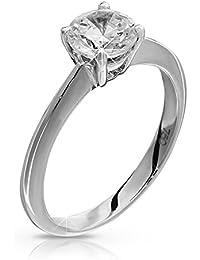 Anillo de compromiso de oro blanco de medio quilate con diamante solitario, de excelente calidad