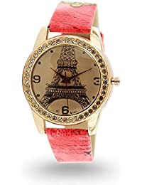 Style Feathers Analog Gold Dial Crystal Crafted 3d Glass Women's Watch - Crystal Paris Print