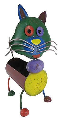 Metall-Figur Katze 29 x 43cm mit Pflanzgefäß – bunt – Katze-Figur – Metall-Katze – Deko-Katze – bepflanzbar