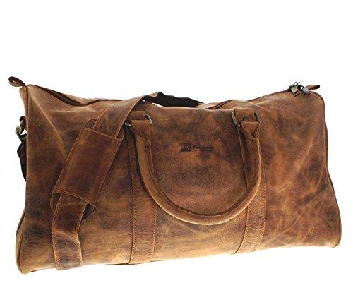 Fashion Boots FB BAGS 1182 Distressed Red Reisetasche für Herren und Damen Braun