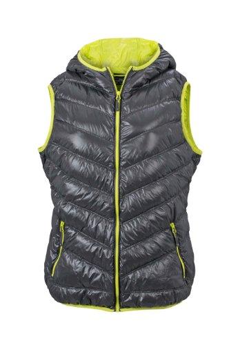 Gilet Doudoune Femme veste duvet matelassé d'hiver sans manches à capuche carbon/acid-yellow