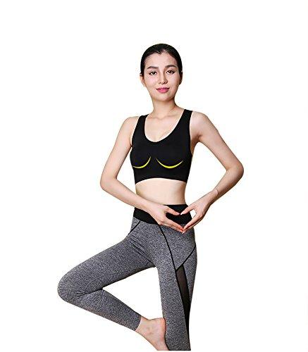 DASKING Femme à la Mode des Vêtements de Yoga Gym Sport Danse Leggings et Tops Sécheresse Rapide ( Pantalon Moulant + Soutiens-gorge de Sport ) Noir