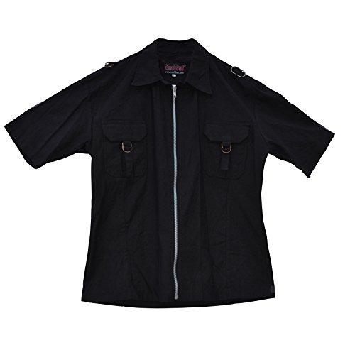 Camisa de manga corta celibato 14099805.008L -Men gótica de Steampunk con cierres en dificultades, Gr. L delgado, negro