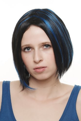 WIG ME UP ® - Perruque courte extravagante dame sexy carré noir mèches bleues SA048-2B061 Punk Gothic Cosplay