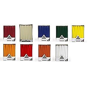 Leuchterkerzen/Spitzkerzen – Durchmesser: 22 mm – Länge: 25 cm – 50 Stück/Paket – Farbe: bordeaux, creme, gelb, dunkelblau, dunkelgrün, orange, rot, terracotta oder weiß