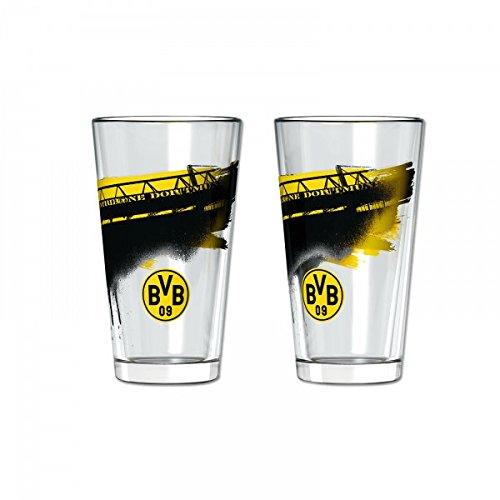 Borussia Dortmund BVB Wasserglas Südtribüne, Glas, Schwarz/Gelb, 6 x 6 x 6 cm, 2-Einheiten
