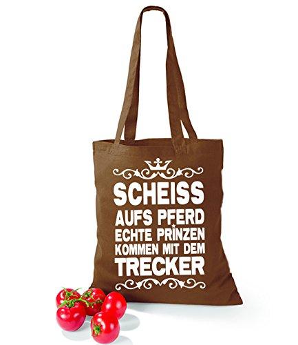 Artdiktat Baumwolltasche Scheiß auf´s Pferd - Echte Prinzen kommen mit dem Trecker yellow chestnut