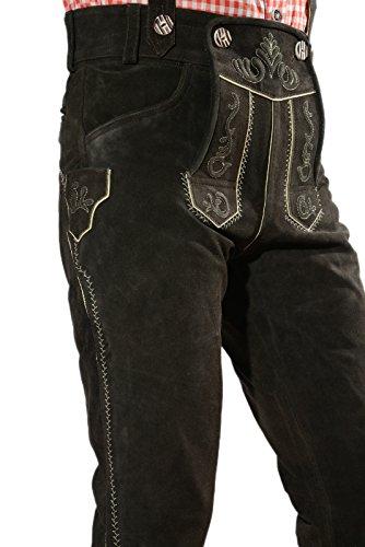 Bayerische Herren Trachten Lederhose, Trachtenlederhose mit Trägern, original in dunkelbraun, Oktoberfest, Größe 50 - 4