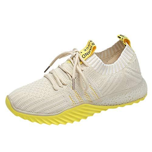 Lilicat Donna Scarpe da Ginnastica Sneakers Sportive Running Fitness Gym Shoes Basse Basket Sport Outdoor Corsa Interior Casual All'Aperto Scarpe Sportive Traspiranti(Giallo,37 EU)