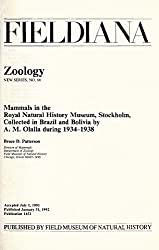 Mammals in the Royal Natural History Museum, Stockholm, Collected in Brazil and Bolivia by A.M. Olalla During 1934-1938 (Zoology, New Seri)