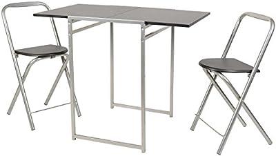 ts-ideen Juego de 3 piezas comedor mesa y sillas para la cocina marco de metal MDF plata y negro 74,5 x 48 cm