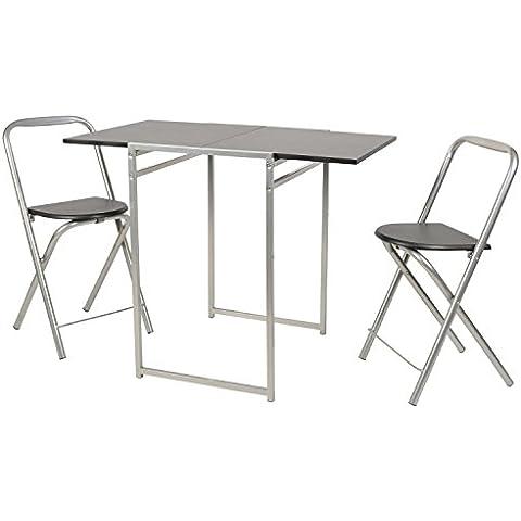 ts-ideen Juego de 3 piezas comedor mesa y sillas para la cocina marco de metal MDF plata y negro 74,5 x 48