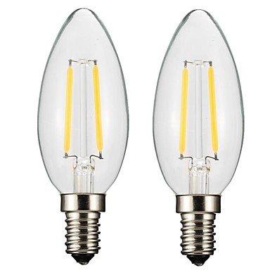 ONDENN 2pcs 2W 150-200 lm E14 E12 Ampoules à Filament LED CA35 2 diodes électroluminescentes COB Intensité Réglable Blanc Chaud AC