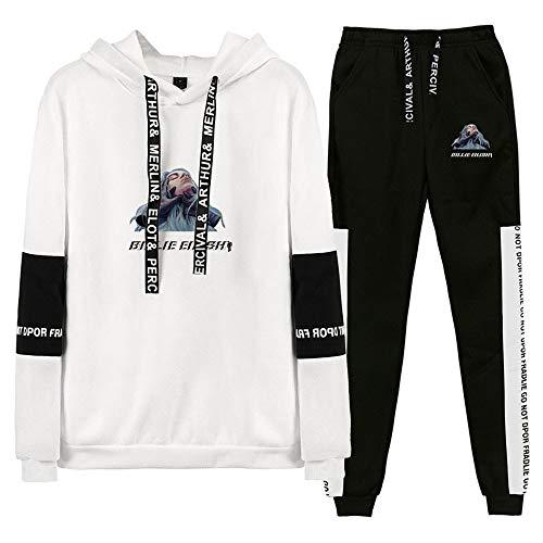 CPHGG Unisex Gedruckt Set Männer Hoodies Trend Billie Eilish Sweatshirt Herbst Winter Kapuzenjacke + Hose Setzt Jugendlich Sport Anzug Mantel (Jungen Anzüge Setzt)