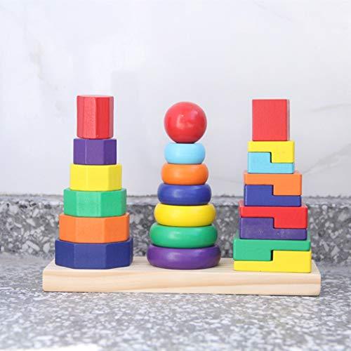 RFJJAL Baby Spielzeug DREI Spalte Form Set Von Regenbogen Turm Holzspielzeug Geometrische Stapler Kind Pädagogisches Spielzeug Bausteine   Geschenk -