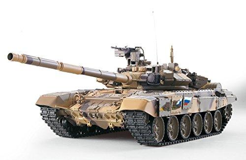ES-TOYS Ferngesteuerter Panzer Russland T-90 Heng Long 1:16 mit Rauch&Sound und Metallgetriebe -2,4Ghz