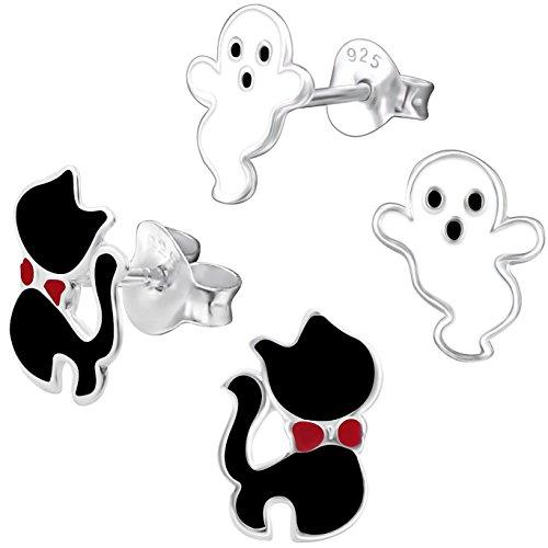 2 Paar JAYARE Kinder Ohrstecker Schwarzer Kater und Gespenst 925 Sterling Silber Emaille Mädchen Ohrringe Halloween