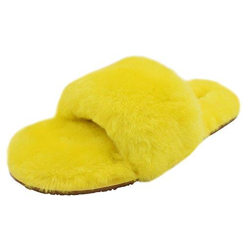 Oasap Femme Eté Tongs Confortable Couleur Bloc Plate-forme Yellow-1