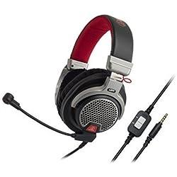 Audio-Technica ATH-PDG1 Casque de Gaming Ouvert avec Microphone pour PC/PS4/SmartPhones, Noir/Argent/Rouge