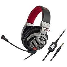 Audio-Technica ATH-PDG1 - Auriculares abiertos de alta fidelidad para videojuegos con micrófono, color negro, rojo y plata