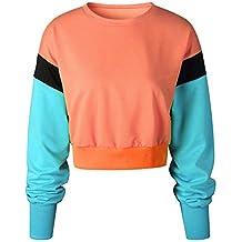 Blusa Mujer BBestseller Otoño e Invierno Camiseta de Mujer Empalme Pullover Sudadera con Capucha Tops Blusa