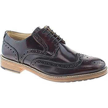 Roamers Wing Capped Brogue 5 Eyelet Mens Leather Gibson Lace Up Shoes UK6-12
