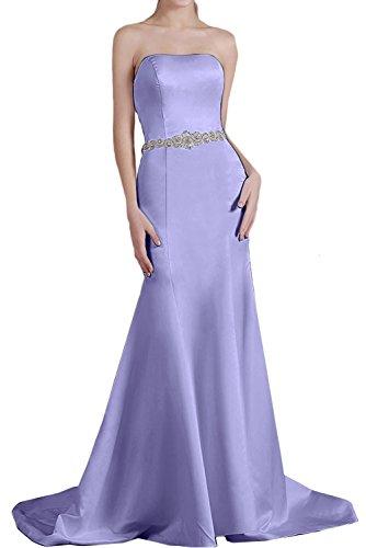 Ivydressing Damen einfach Schleppe Meerjungfrau Traegerlos aermellos Satin Guertel Strass Perlen Ruekenfrei Brautfernkleid Abendkleid Partykleid Lilac