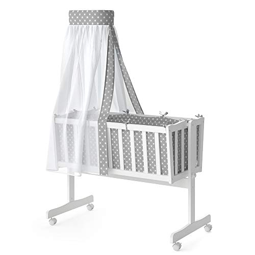 VITALISPA Wiege NOAH Schaukelwiege Babywiege Holz Weiß Grau Bett Set Buche