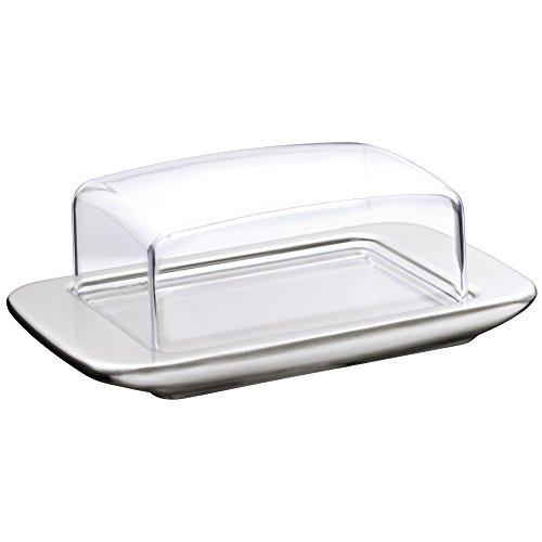 WMF loft Brunch Butterdose, mit Kunststoffhaube, Cromargan Edelstahl, mattiert, spülmaschinengeeignet, 11,5 x 16,8 cm