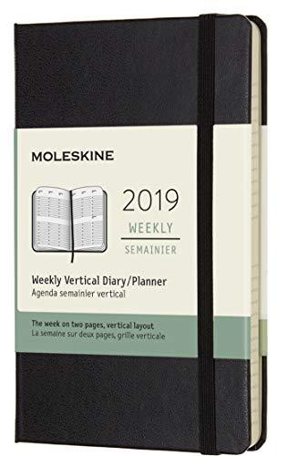 Moleskine 2019 Agenda Settimanale 12 Mesi, Verticale, Tascabile, Copertina Rigida, Nero, ( 9 x 14 cm