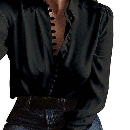 Chemise DéContractéE OHQ Revers à Manches Longues Simple Boutonnage Chemisier à Manches Longues à Manches Longues Pour Femmes Noir