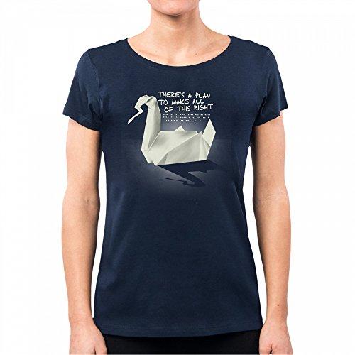 PacDesign T-Shirt Damen Prison Break Origami Serie TV Geek Funny TV Series Film Nemimakeit Nm0128a, L, Navy Damen-origami