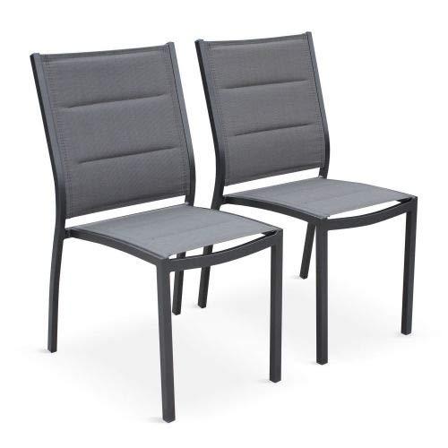 Alice's Garden Lot de 2 chaises - Chicago/Odenton Anthracite - en Aluminium Anthracite et textilène Gris foncé, empilables