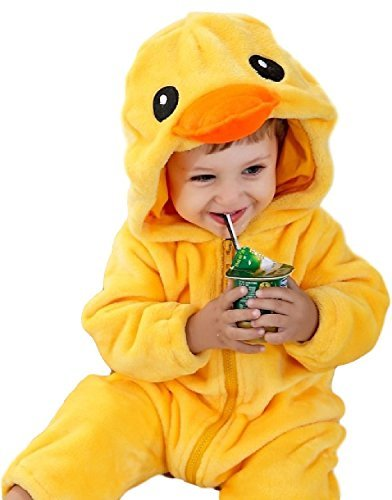 ind Jungen Mädchen gelb Ostern Huhn Ente Tier Overall Maskenkostüm - Gelb, Gelb, 12-18 months (90cms) (Huhn Baby Kostüme)