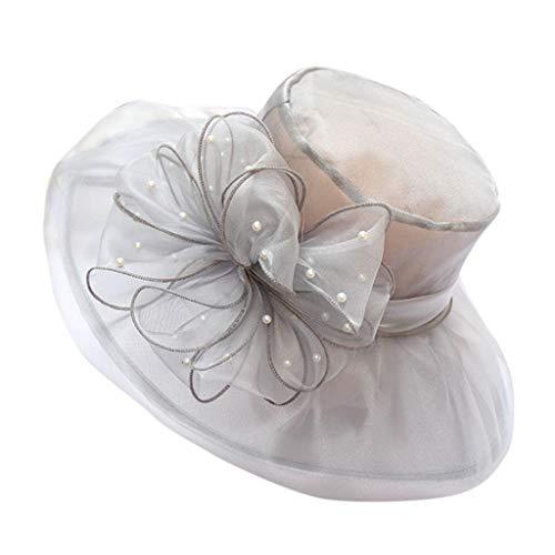 Bfmyxgs Mode Elegent Frauen Kentucky Derby Breiter Krempe Hochzeit Kirche Gelegentliche Organza Sun Hut