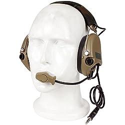Docooler Auriculares Tácticos de Reducción de Ruido de Cancelación de Auriculares Sobre los Auriculares para la Caza de Airsoft Paintball Militar