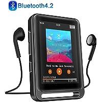 """MP3 Player, 16GB Bluetooth MP3 Player mit 2.4"""" LCD Touchscreen, Sports MP3 Player mit Kopfhörer/FM Radio/Voice Recorder, Unterstützt bis 128 GB SD Karte(Kopfhörer, Armband, Schlüsselband inklusive)"""