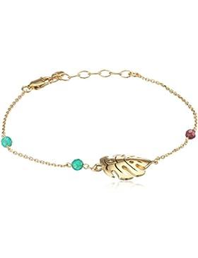caï women Damen Armband Ankerkette Blatt 925 Silber gelb vergoldet und schwarz lackiert Chalzedon grün Rhodolith...