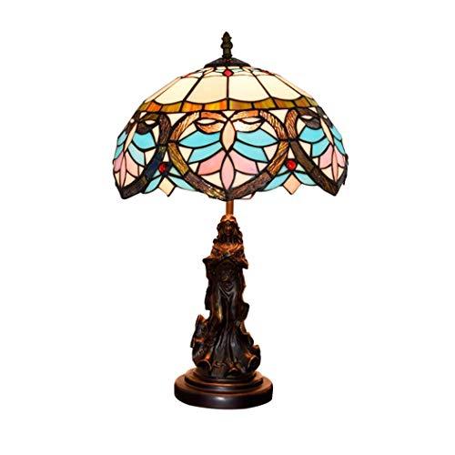 Tiffany Barock Stil Tischlampen, 12 Zoll Schlafzimmer Glasmalerei Lampe Tabelle Moderne Kunst dekorative Wohnzimmer Glasmalerei Lampenschirme, für Schlafzimmer Wohnzimmer warme Atmosphäre -