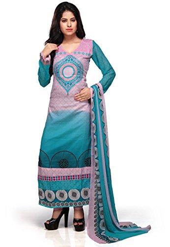 Utsav Fashion Women's Pink and Aqua Cotton Readymade Churidar Kameez-XX-Small
