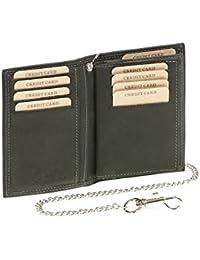 Biker portefeuille porte-cartes pour pièce d'identité et porte-cartes avec la chaîne chrome format portrait LEAS MCL, cuir véritable, noir - ''LEAS Chain-Series''
